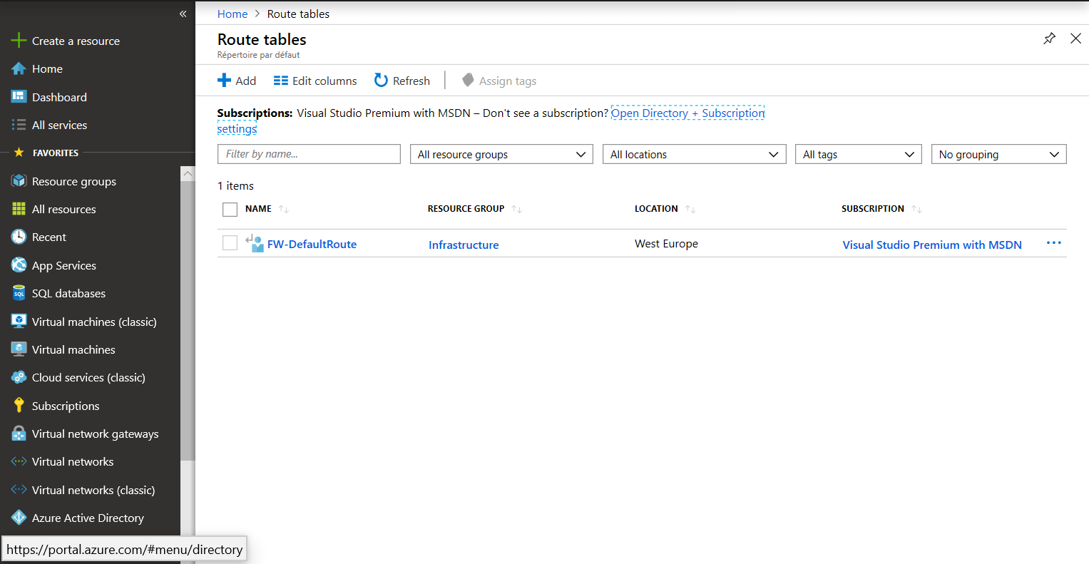 Route has present on Azure Portal