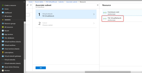 Select desired virtual network