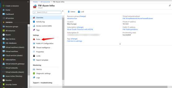 Create Rules on Azure Firewall