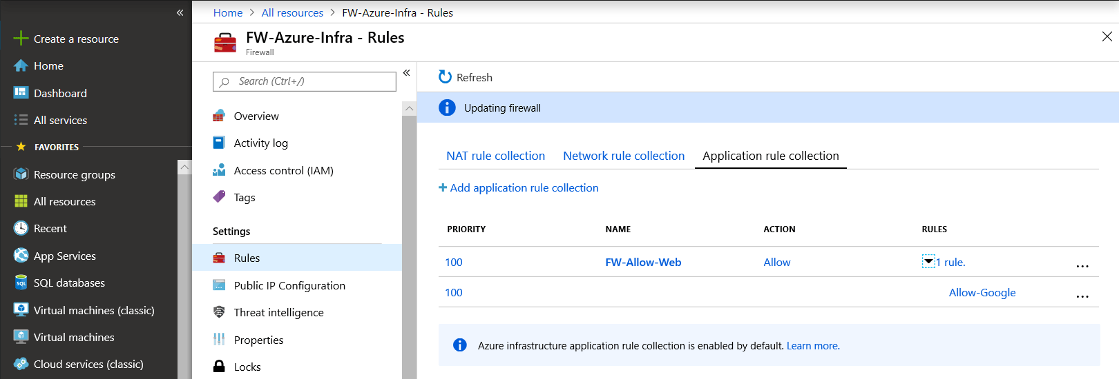 Rules are been present on Azure Firewall