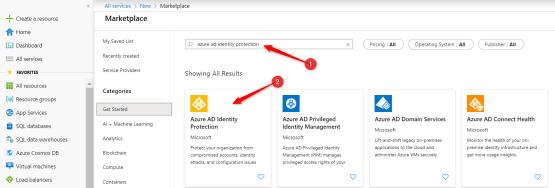 Select Azure identity Protection