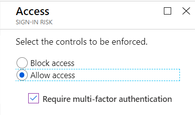 Select the desired access