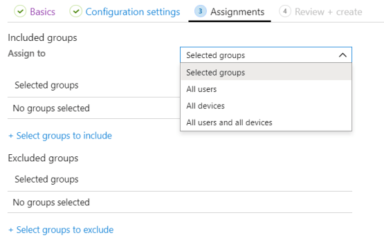 Selected group or default group for assign Security Baseline.