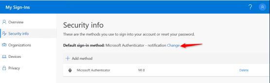 Authentification method for Azure AD Passwordless