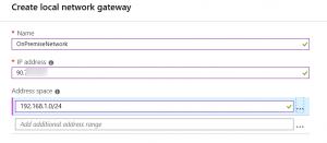 Create local Network gateway