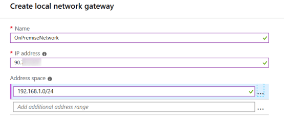 Create local Network gateway vpn