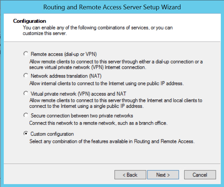 Select custom configuration for create vpn