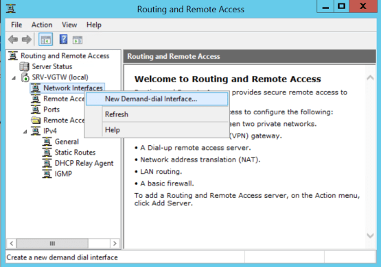 Access to New demand dial interface