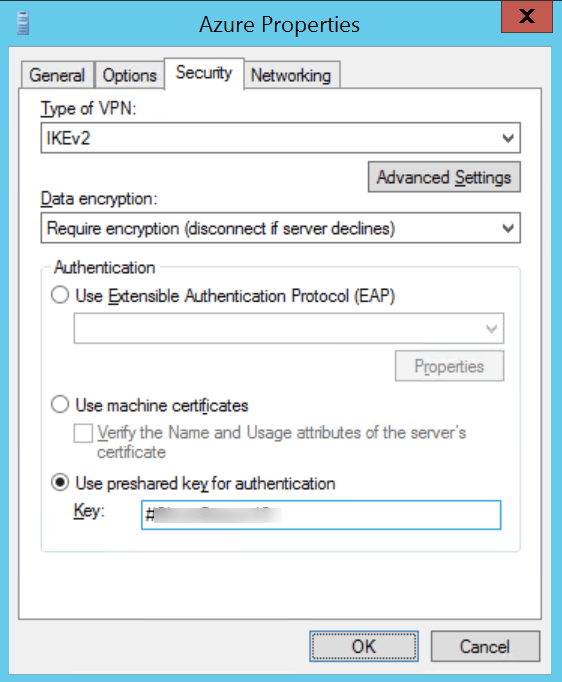 Configure interface with psk