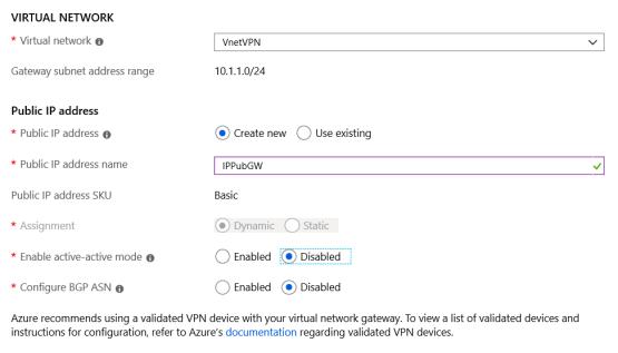 Configure gateway VPN