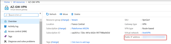 View Public Ip address for the virtual gateway on Azure