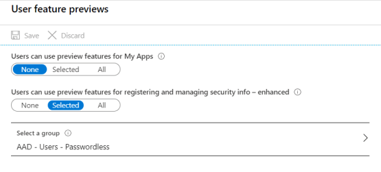 Use FIDO2 key with AAD - Manage user feature preview settings