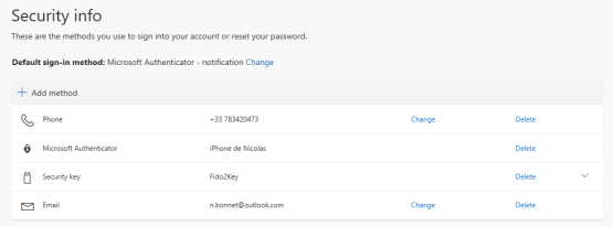 Choose type of security key
