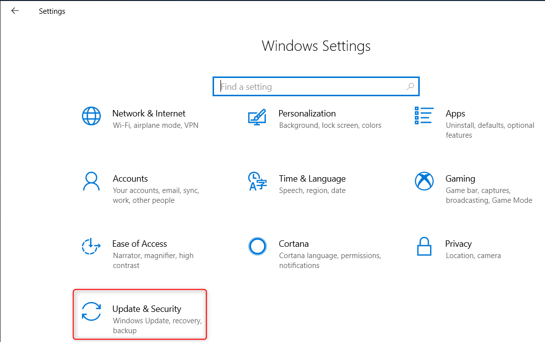 Access to Windows Settings