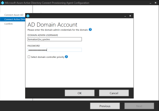 Configure user account for synchro
