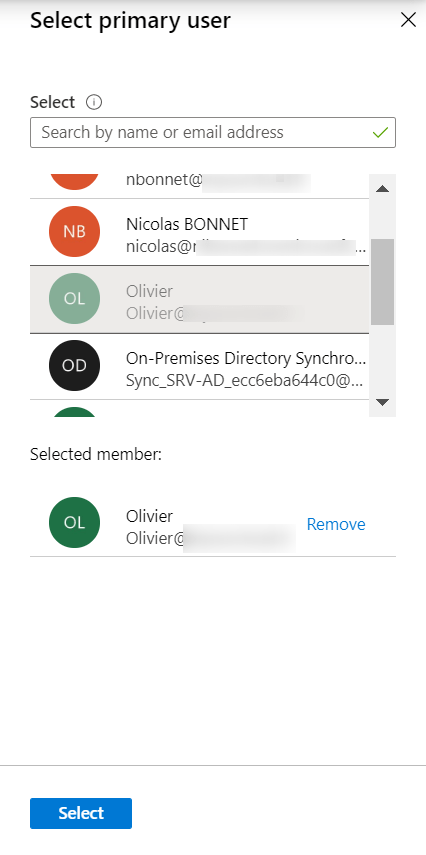 Intune select users