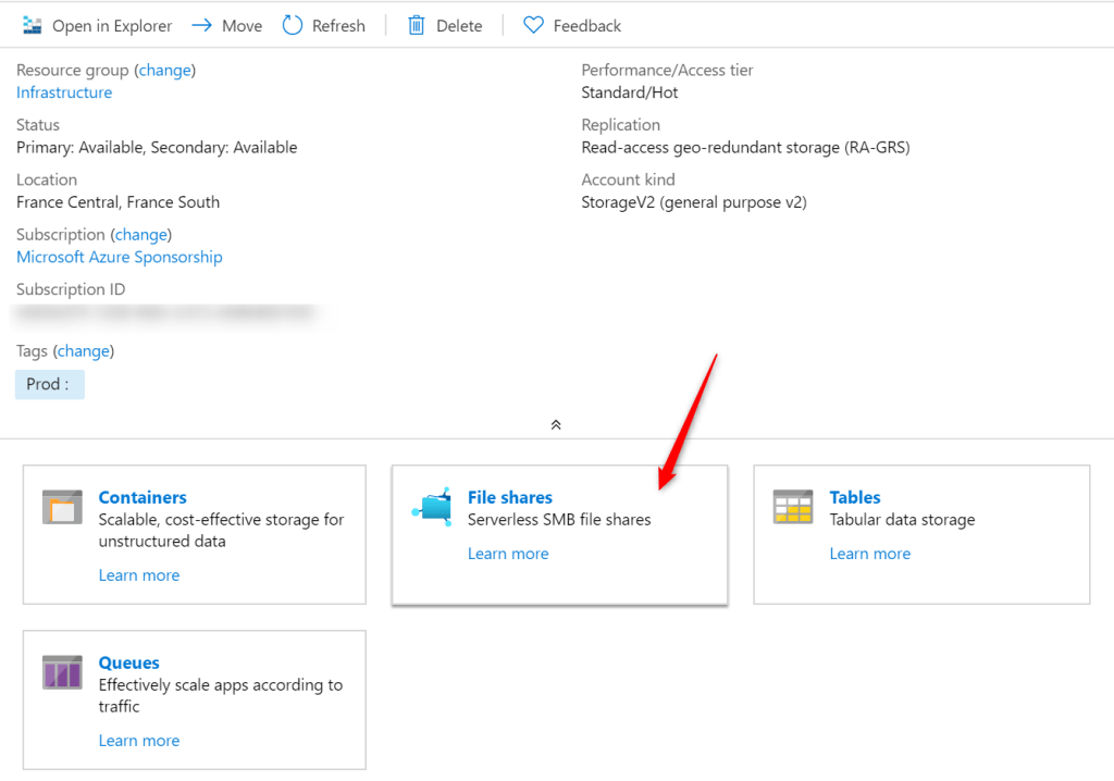 Add File share on Azure