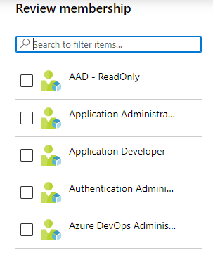Select privileged roles that you want review.