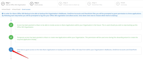 Grant access Altaro application to O365 data