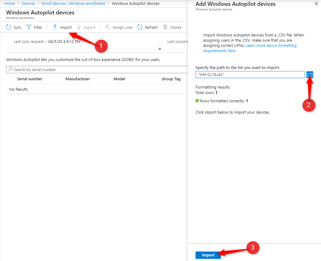 Autopilot and Hybrid AD Join - Import CSV file for add device on Autopilot