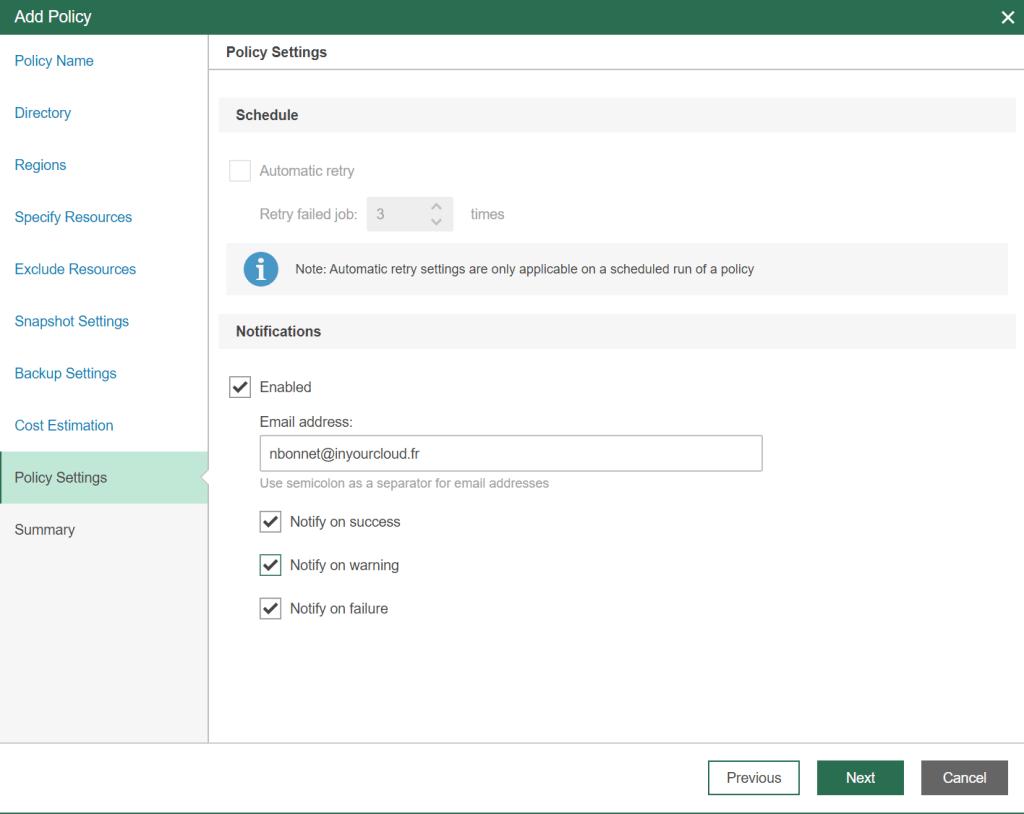 Configure notification