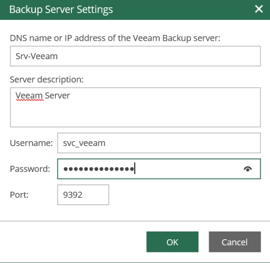 Enter data for connect to the server