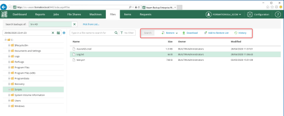 Restore or dowload file with Veeam