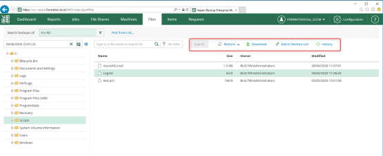 Restore or download file with Veeam