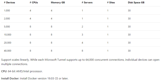 Microsoft tunnel - Size of the server