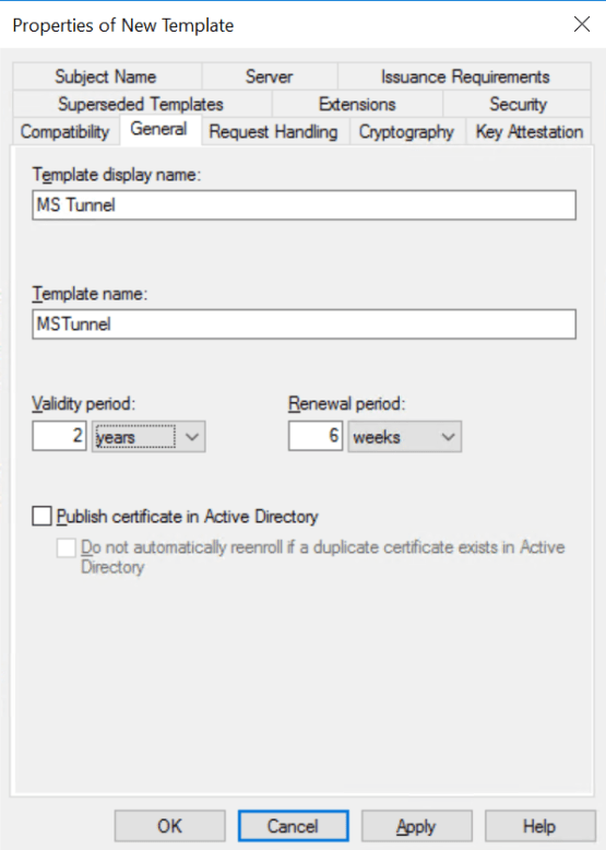 Configure name of the template