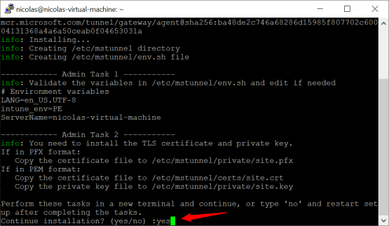 Certificate has been imported on Microsoft Tunnel