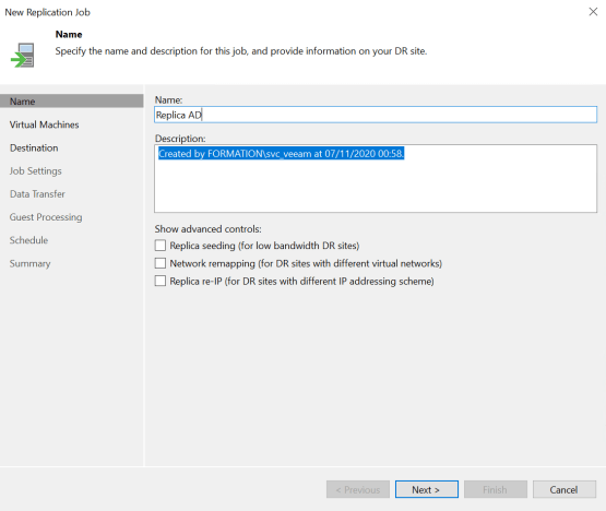 Replication with Veeam - Enter the name of the replica job