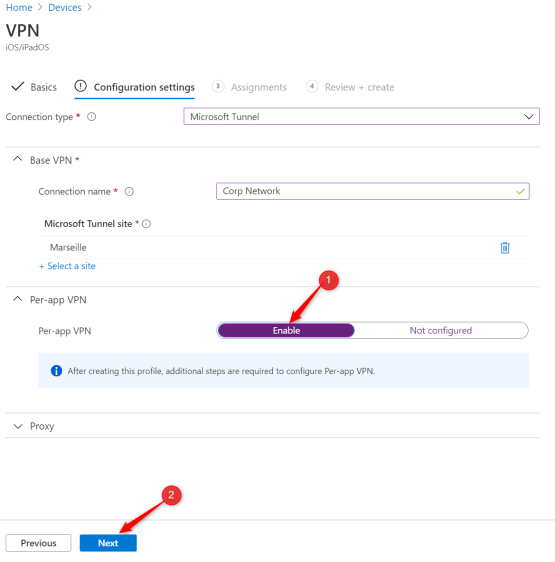 Enable per-app VPN