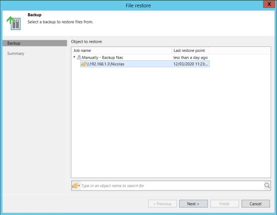 individual restore file