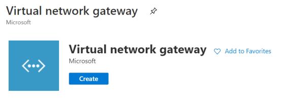 Create Virtual network gateway