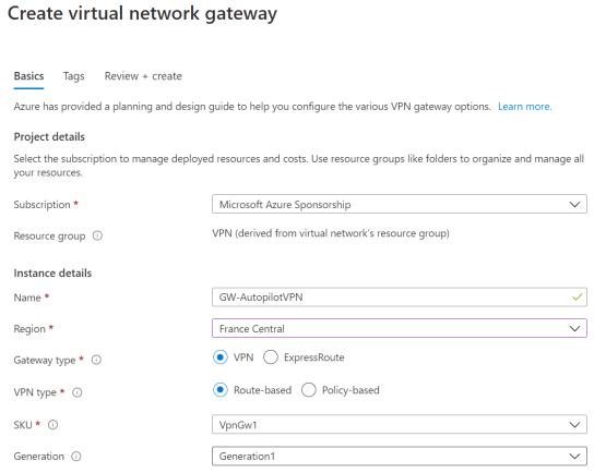 Configure Azure Gateway VPN