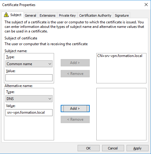 Add internal address on the certificate of ndes server