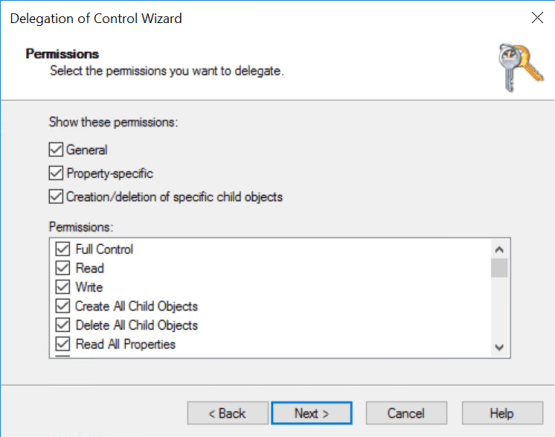 Full control permission for server on OU