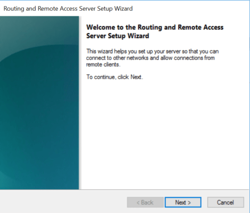 Routing and Remote access wizard