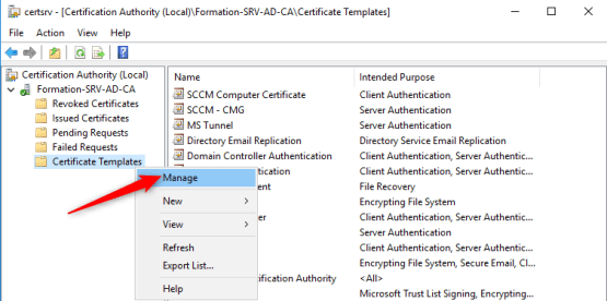 Manage certificate template