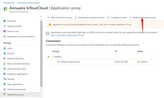 Enable application proxy