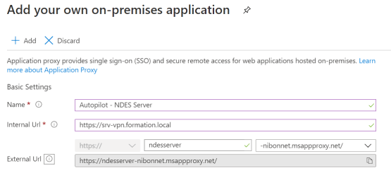 Enter configuration for the application