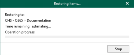 Item has been restored with Veeam