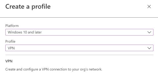 Create VPN profile