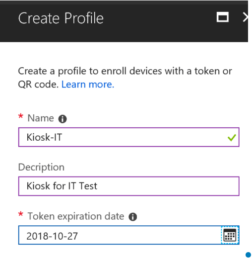 Create configuration policy Android enterprise kiosk devices
