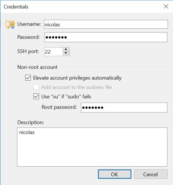 Enter credential information