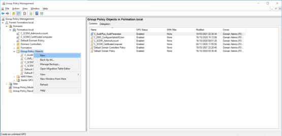 Create new group policy