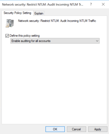 Configure  Network security: Restrict NTLM: Audit Incoming NTLM Traffic