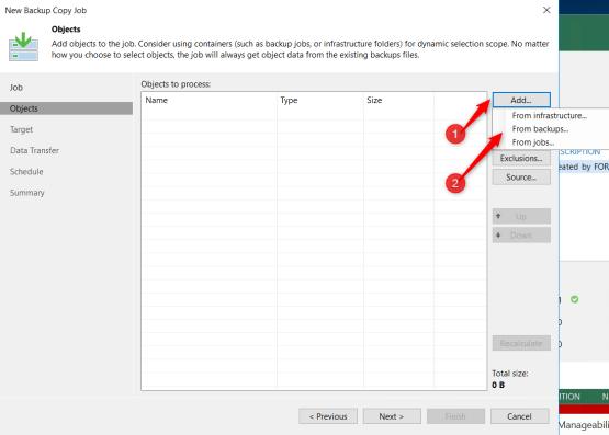 Backup copy - Select object