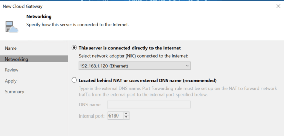 Configure the network for the Veeam Cloud Gateway
